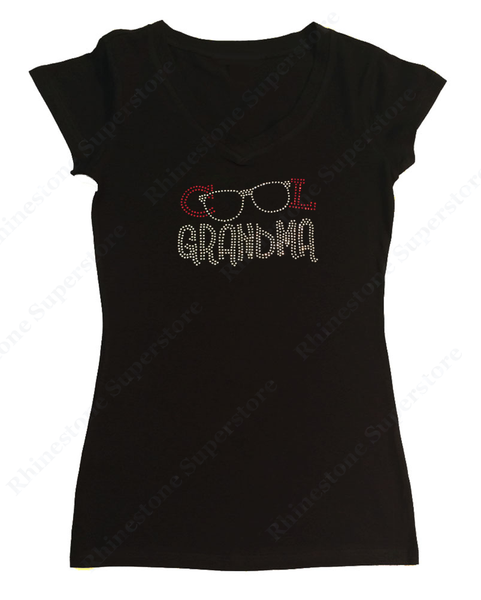 Womens T-shirt with Cool Grandma Glasses in Rhinestones
