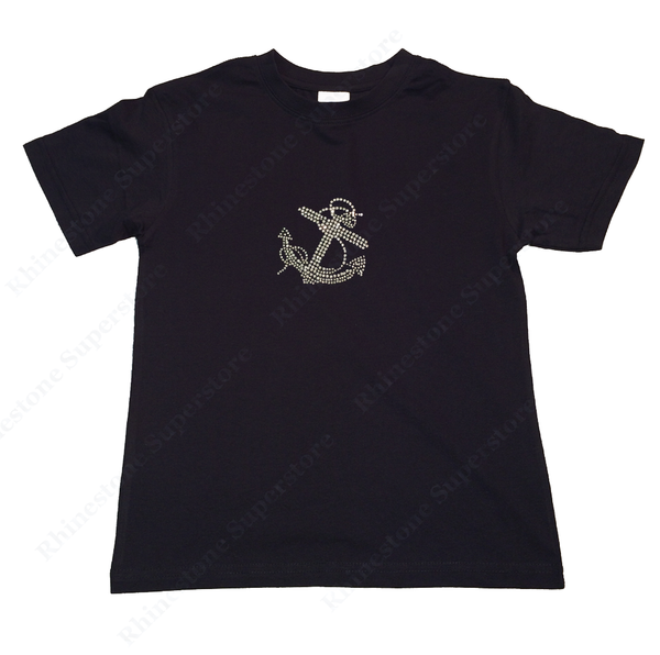 "Girls Rhinestone T-Shirt "" Crystal Anchor "" Kids Size 3 to 14 Available, Summer, Vacation"