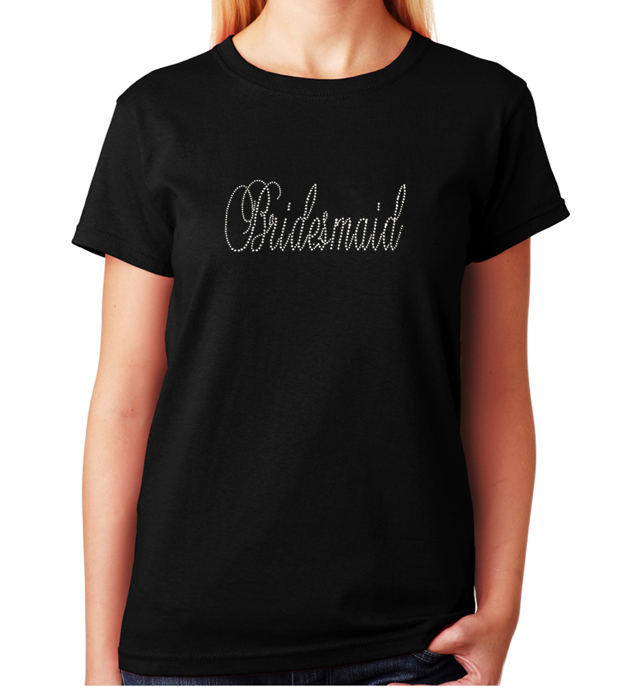 Women's / Unisex T-Shirt with Crystal Script Bridesmaid in Rhinestones