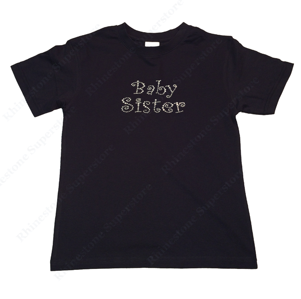 "Girls Rhinestone T-Shirt "" Curlz Baby Sister "" Kids Size 3 to 14 Available"