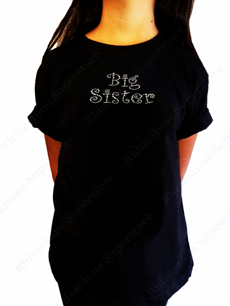"Girls Rhinestone T-Shirt "" Curlz Big Sister "" Kids Size 3 to 14 Available"