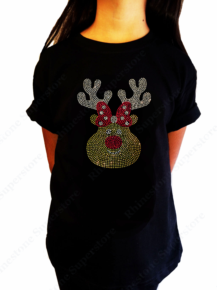 "Girls Rhinestone T-Shirt "" Cute Christmas Reindeer "" Size 3 to 14 Available"