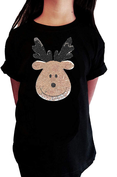 "Girls Rhinestone T-Shirt "" Cute Silver Reindeer In Sequence - Christmas "" Kids Size 3 to 14 Available"