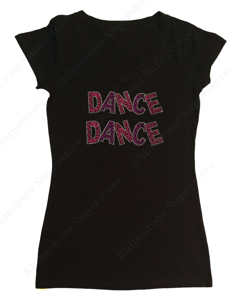 Womens T-shirt with Dance Dance in Neon Rhinestuds