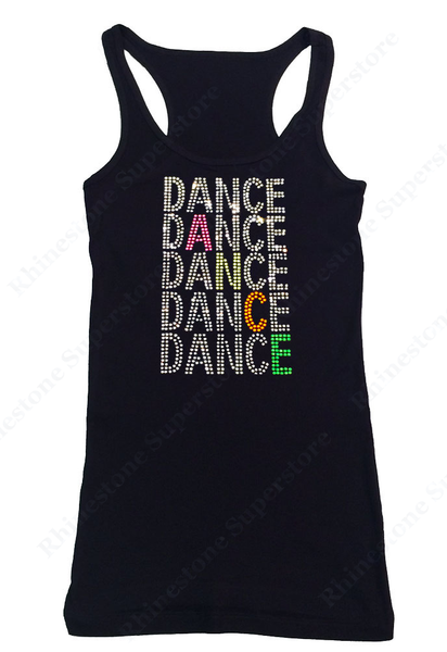 Womens T-shirt with Dance with Neon in Rhinestones