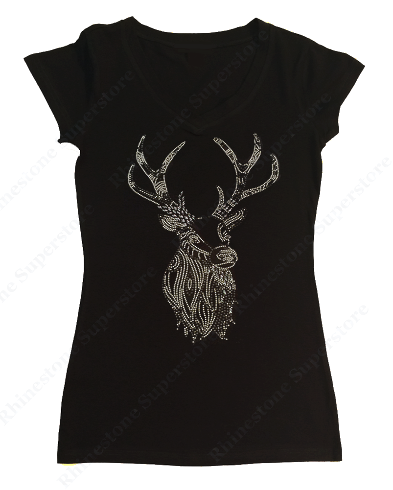 Womens T-shirt with Deer in Rhinestuds and Nail Heads