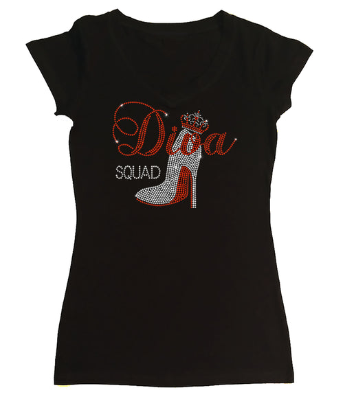 Womens T-shirt with Diva Squad w Crown in Rhinestones