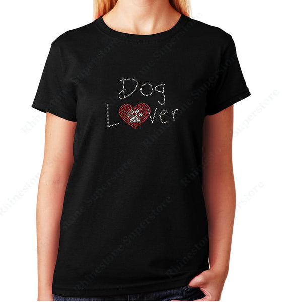 Women's / Unisex T-Shirt with Dog Lover with Heart and Paw in Rhinestones