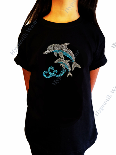 "Girls Rhinestone T-Shirt "" Dolphins "" Size 3 to 14 Available"