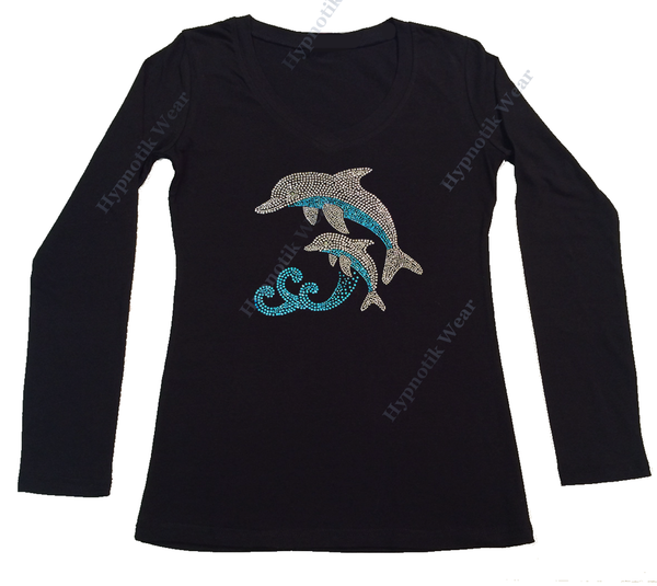 Womens T-shirt with Dolphins in Rhinestones