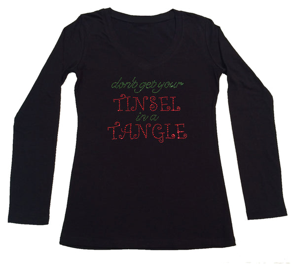 Womens T-shirt with Don't Get Your Tinsel in a Tangle in Rhinestones