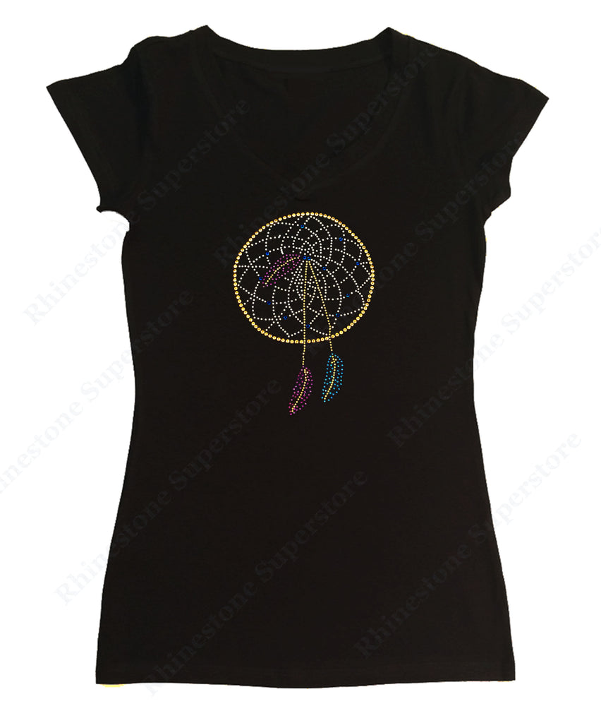 Womens T-shirt with Dream Catcher in Rhinestones