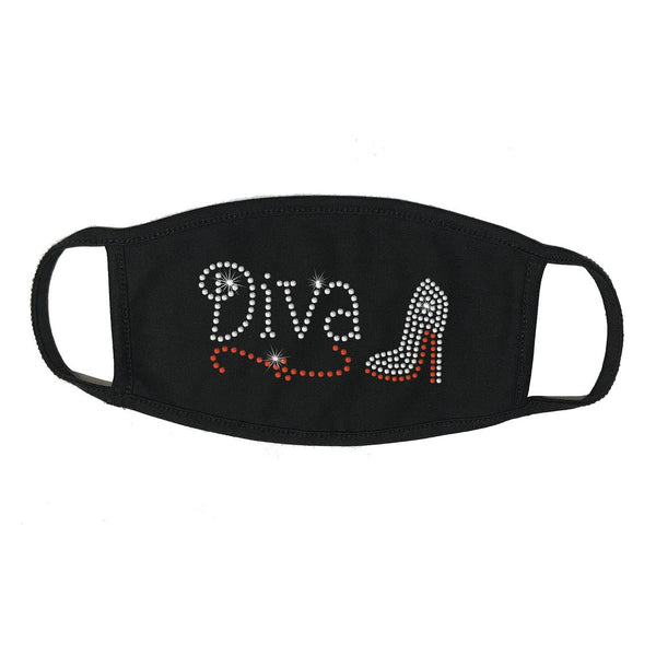 Rhinestone Embellished Black Face Mask with Face Cover, Diva with Heel