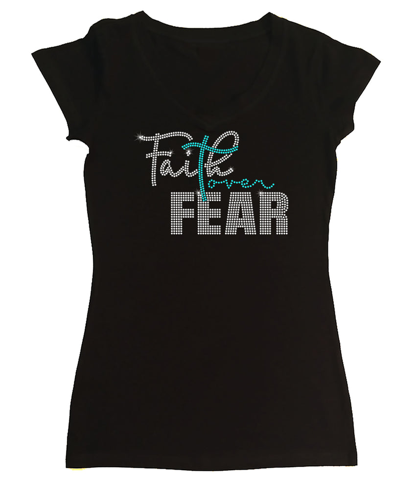 Womens T-shirt with Faith Over Fear in Rhinestones