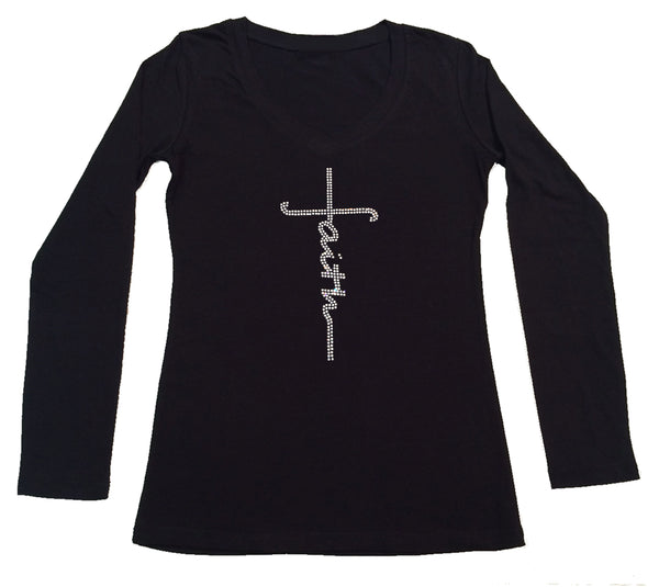 Womens T-shirt with Faith Script Cross in Rhinestones