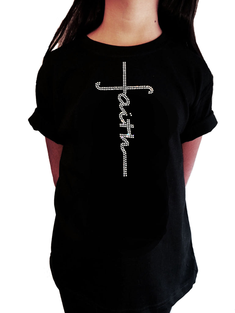 "Girls Rhinestone T-Shirt "" Faith Script Cross in Rhinestones "" Kids Size 3 to 14 Available"