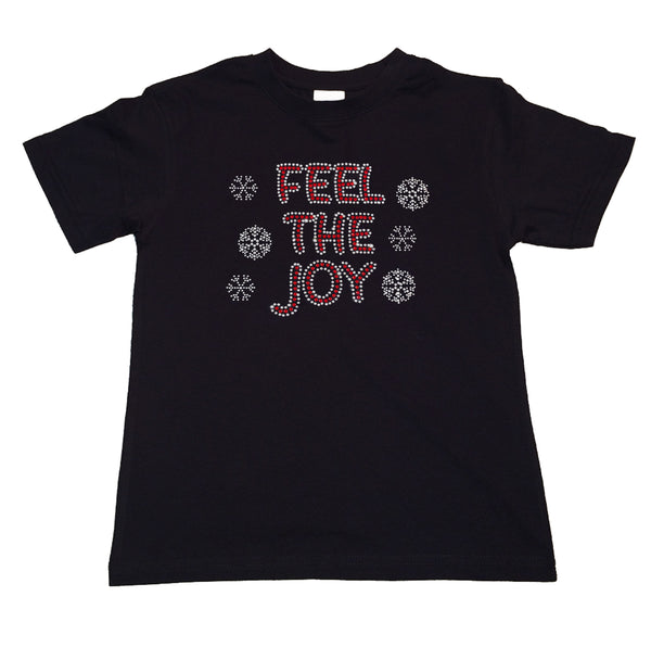 "Girls Rhinestone T-Shirt "" Feel the Joy with Snowflakes Christmas in Rhinestones "" Kids Size 3 to 14 Available"