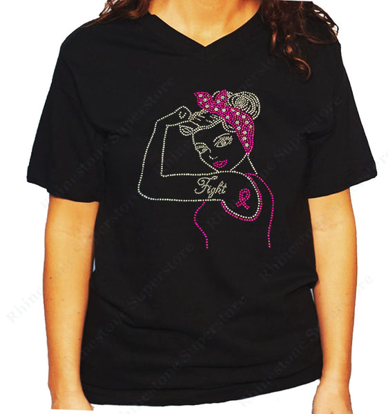 Women's / Unisex T-Shirt with Fight Cancer Pin-up Ribbon in Rhinestones