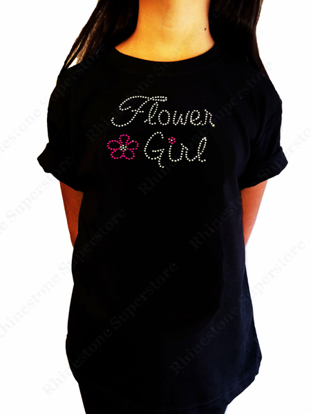 "Girls Rhinestone T-Shirt "" Flower Girl with Pink Flower "" Kids Size 3 to 14 Available"