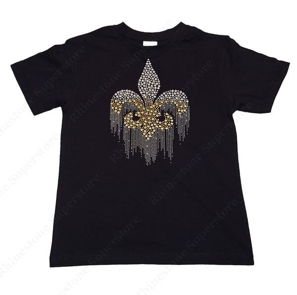 "Girl's Rhinestone and Rhinestud T-Shirt "" Fluer de Lis Dripping in Silver and Gold """