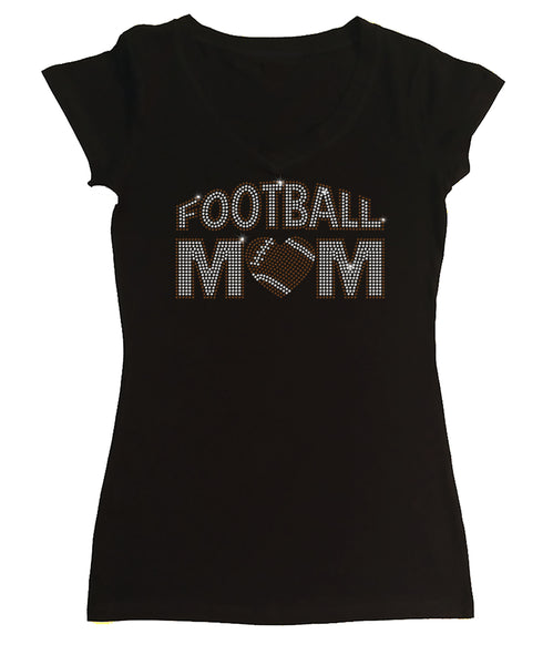Womens T-shirt with Football Mom with Heart in Rhinestones