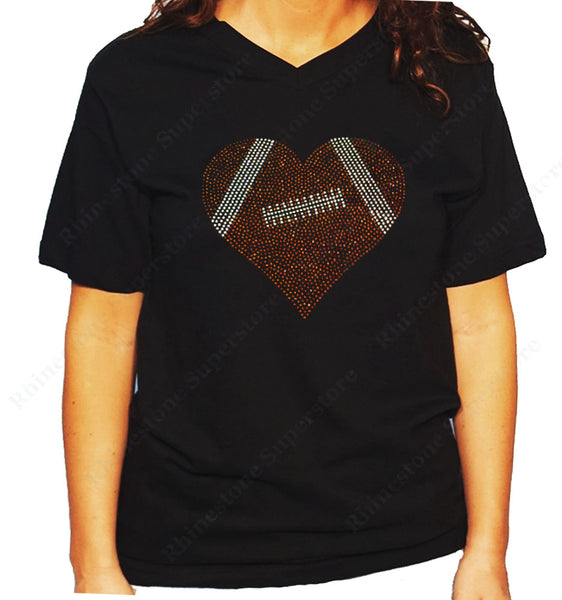 Women's / Unisex T-Shirt with Football Heart in Rhinestones