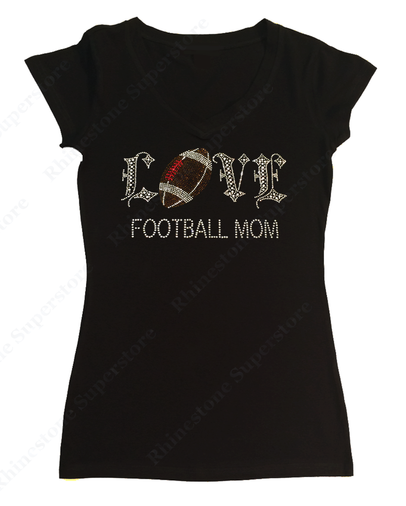 Womens T-shirt with Football Mom Love in Rhinestones