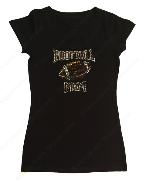 Womens T-shirt with Football Mom in Rhinestones