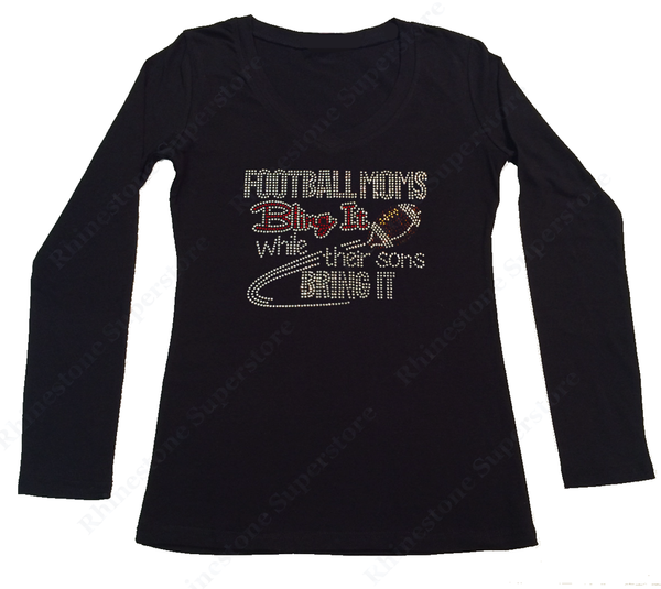 Womens T-shirt with Football Moms Bling it in Rhinestones
