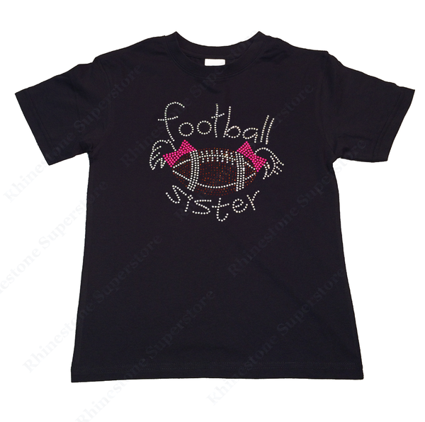 "Girls Rhinestone T-Shirt "" Football Sister with Pigtail "" Kids Size 3 to 14 Available"