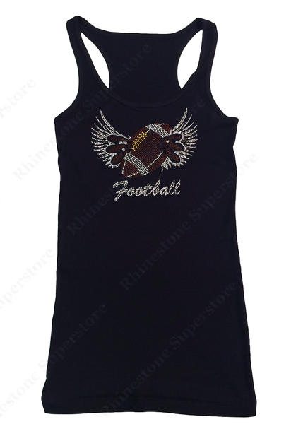 Womens T-shirt with Football Wings and Claws in Rhinestones