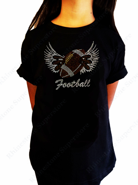 "Girls Rhinestone T-Shirt "" Football Wings and Claws "" Size 3 to 14 Available"