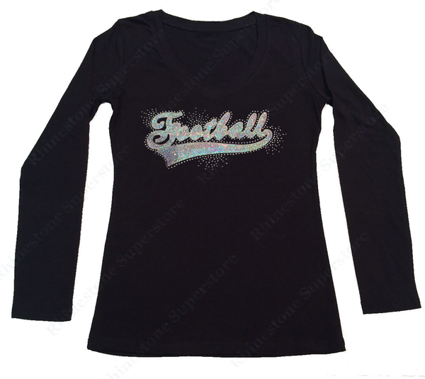 Womens T-shirt with Football in AB Sequence