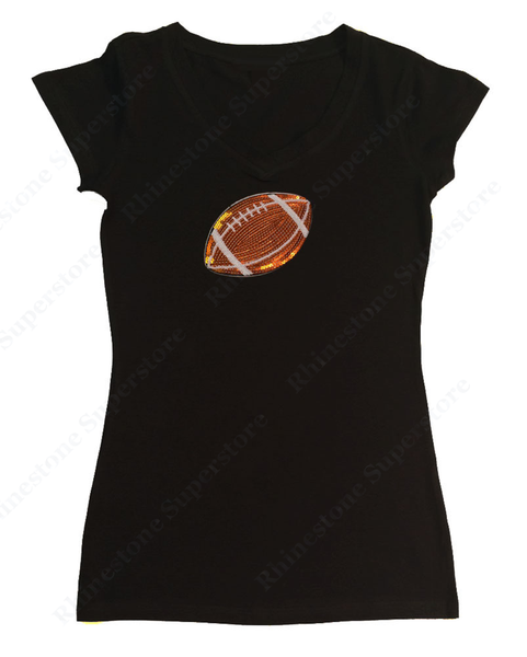 Womens T-shirt with Football in Sequence