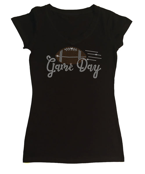 Womens T-shirt with Game Day Football in Rhinestones