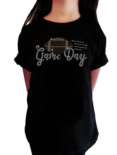 "Girls Rhinestone T-Shirt "" Game Day Football in Rhinestones "" Kids Size 3 to 14 Available"