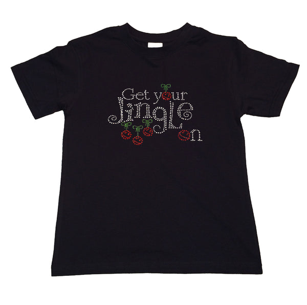 "Girls Rhinestone T-Shirt "" Get your Jingle On Christmas in Rhinestones "" Kids Size 3 to 14 Available"