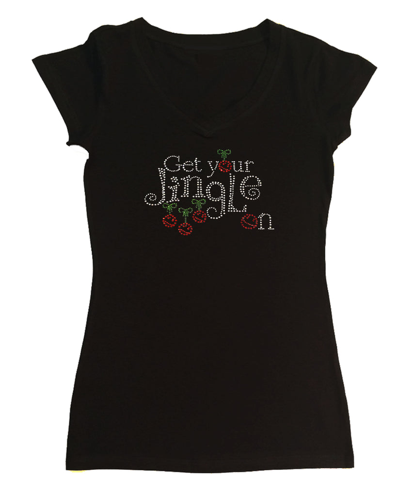 Womens T-shirt with Get your Jingle On Christmas in Rhinestones