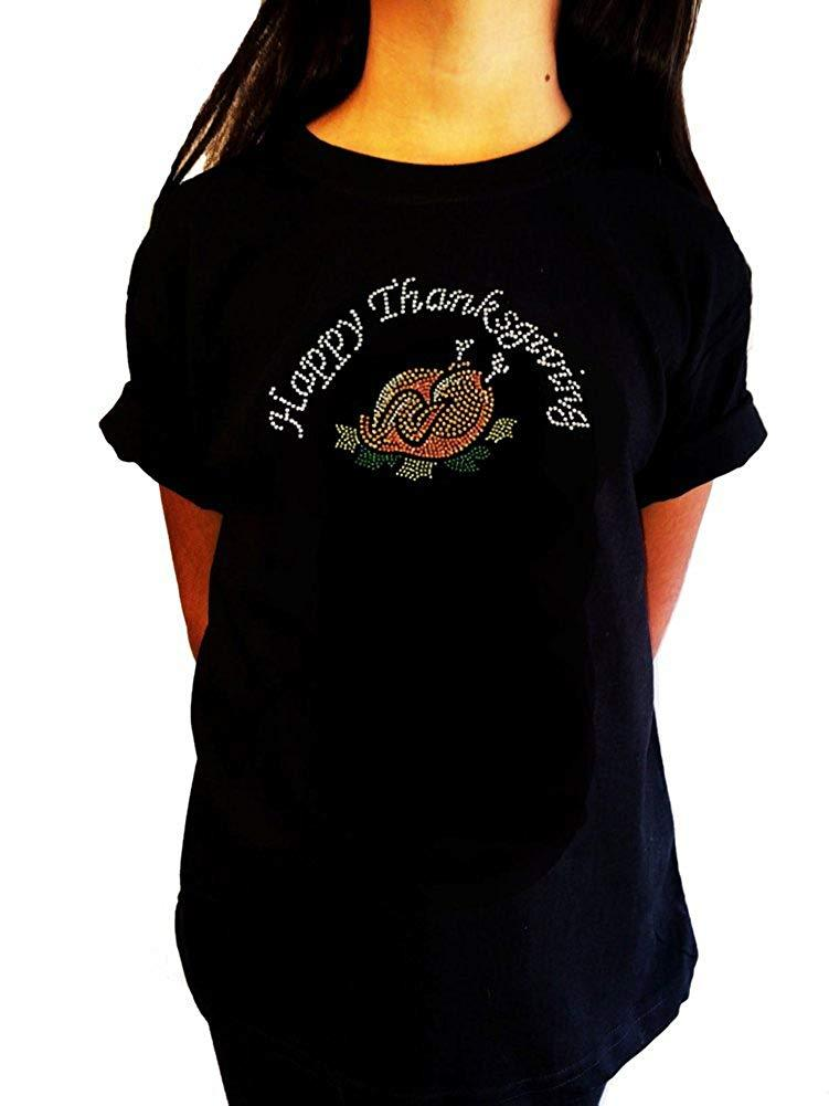 "Girls Rhinestone T-Shirt "" Cooked Happy Thanksgiving "" Kids Size 3 to 14"