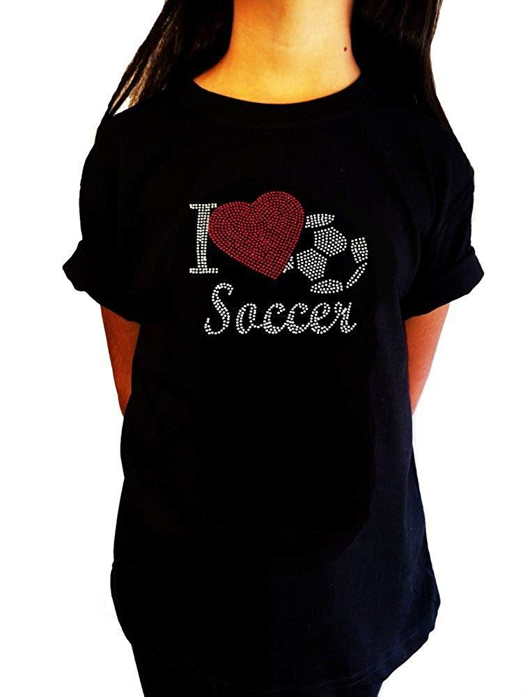 "Girls Rhinestone T-Shirt "" I Love Soccer with Heart "" Kids Size 3 to 14 Available"