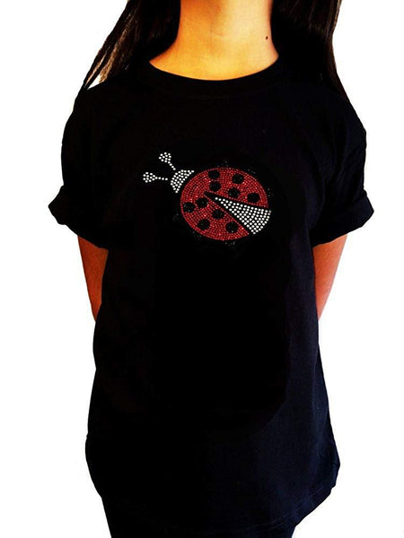 "Girls Rhinestone T-Shirt "" Lady Bug "" Kids Size 3 to 14 Available"
