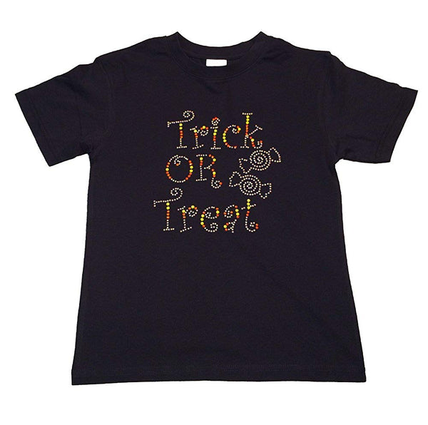"Girls Rhinestone T-Shirt "" Trick or Treat "" with Candy Size 3 to 14, Halloween"