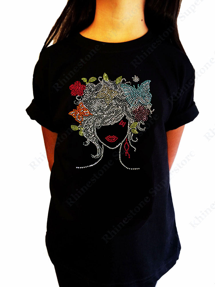 "Girls Rhinestone T-Shirt "" Girl with Colorful Butterflies "" Kids Size 3 to 14 Available"