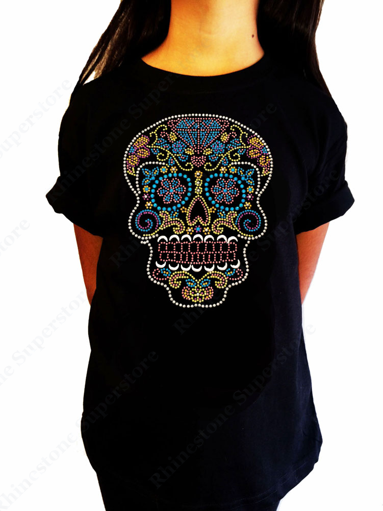 "Girls Rhinestone / Suds T-Shirt "" Colorful Sugar Skull "" Kids Size 3 to 14 Available, Halloween"