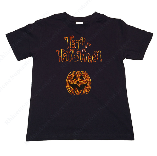 "Girls Rhinestone T-Shirt "" Happy Halloween w/ Pumpkin "" Kids Size 3 to 14 Available"