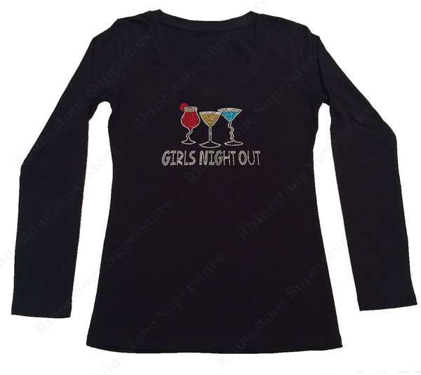 Womens T-shirt with Girls Night Out Drinks in Rhinestones
