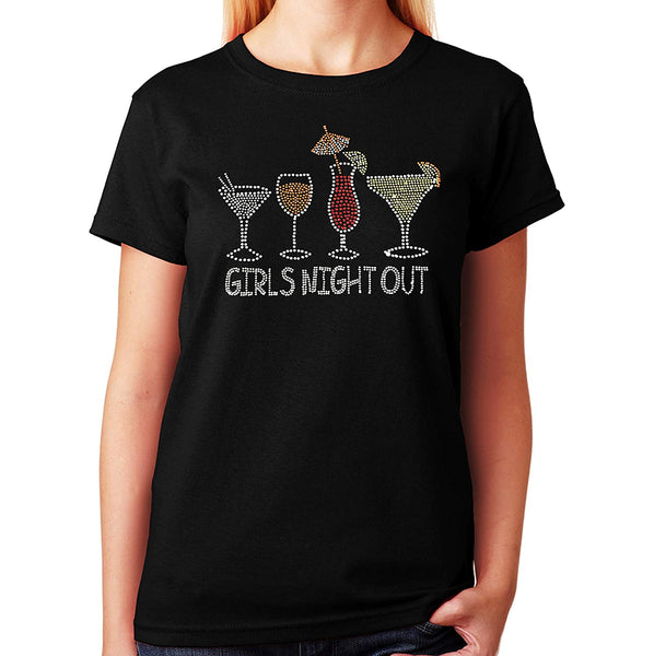 Women's / Unisex T-Shirt with Girls Night Out With Drinks in Rhinestones