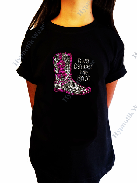 "Girls Rhinestone T-Shirt "" Give Cancer the Boot with Cancer Ribbon "" Kids Size 3 to 14 Available"