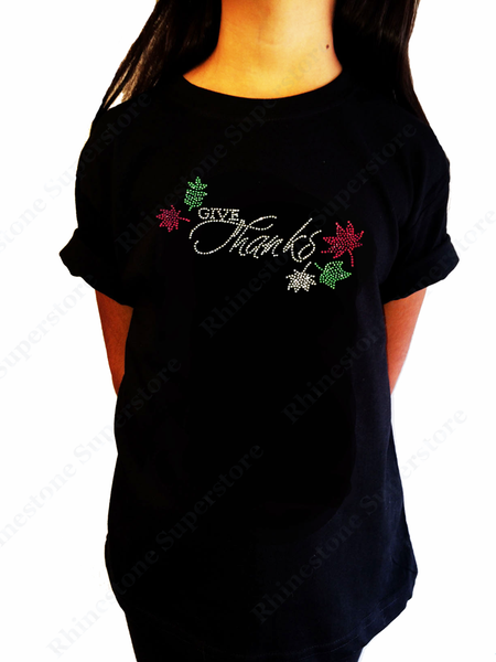 "Girls Rhinestone T-Shirt "" Give Thanks "" Size 3 to 14 Available"