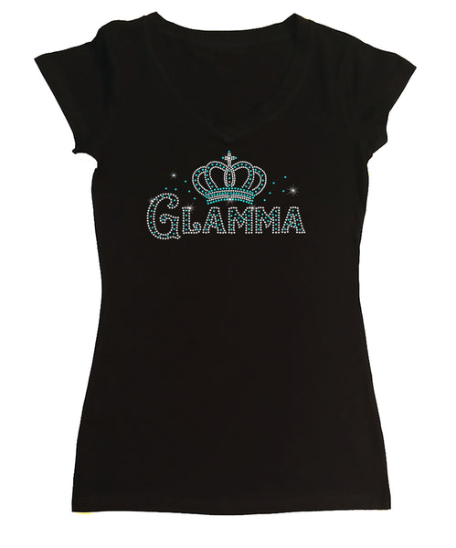Womens T-shirt with Glamma with Crown in Rhinestones